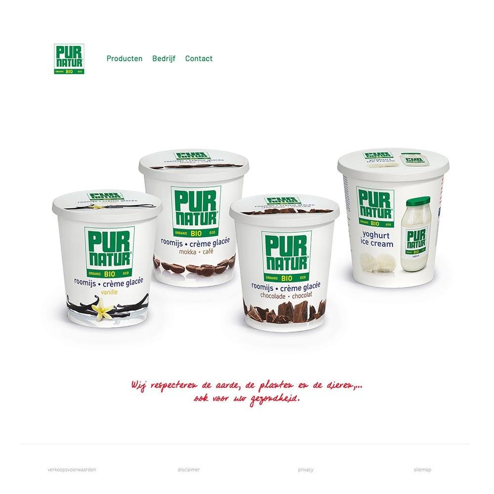 nieuwe website voor Pur Natur Ice